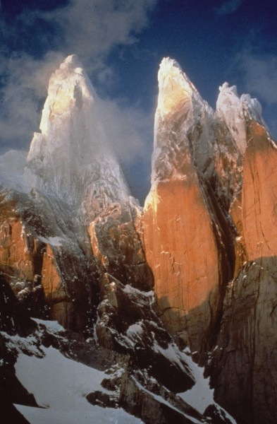 Cerro Torre and Torre Egger viewed from the ice cap. Notice no ice rou...