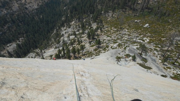 Looking down the traverse on pitch three