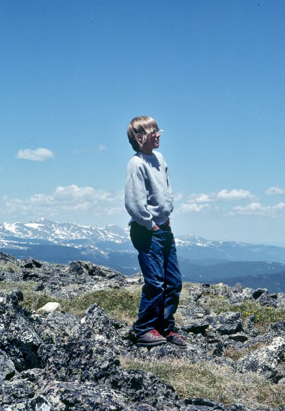 Summit of Ypsilon, RMNP, age thirteen. My fifth ascent of it. Lucky ki...