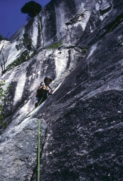 Jean MCrae - 2nd to last pitch Grandwall, Squamish