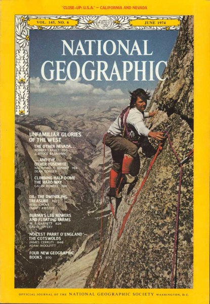 National Geographic, cover article - the first clean ascent of Half Do...