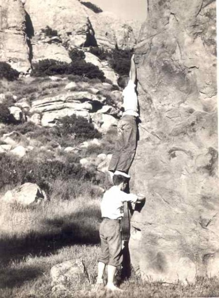 Glen and brother Muir Dawson on boulder 1