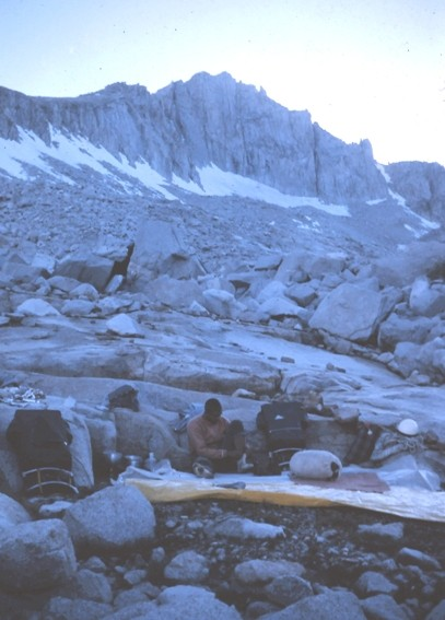 Russ McLean at camp the evening before our climb. Sept., 1963.