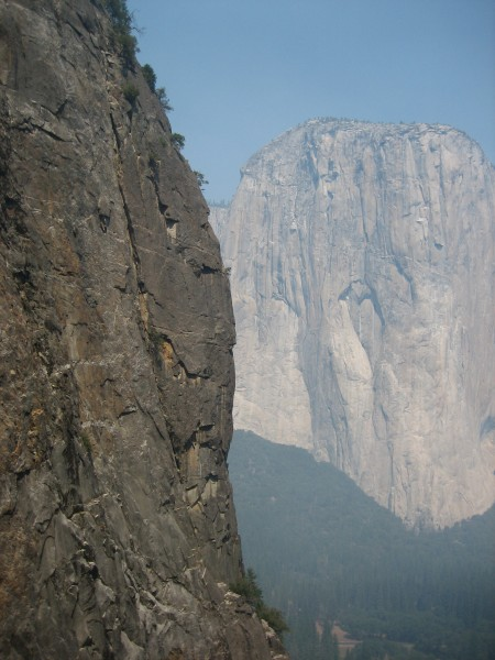 Lower Cathedral Rock - East Buttress - middle crux area