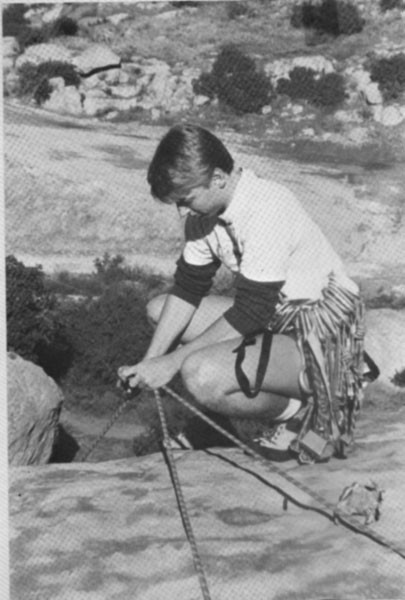 Rex Pieper setting up toprope on Beethoven's Wall, Stoney Point, CA 19...