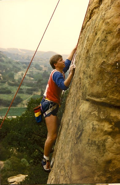 Rex Pieper climbing Beethoven's Wall, Stoney Point, CA 1985