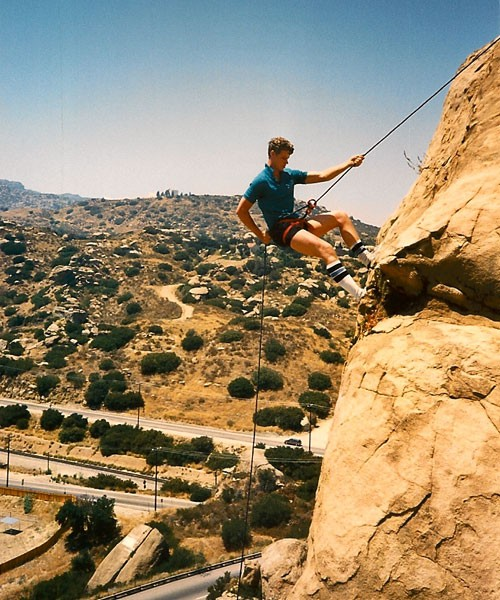 Joe Weber rappelling off of Jesus Wall, Stoney Point CA circa 1988