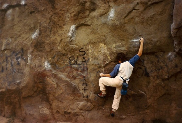 Karen Brotter traversing Boulder One, Stoney Point, CA circa 1987