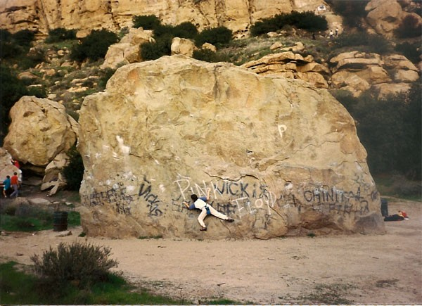Karen Brotter on Boulder One Traverse, Stoney Point, CA circa 1987