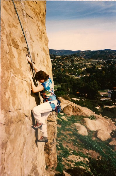 Karen Brotter on Pin Scars 5.9, Stoney Point, CA circa 1988