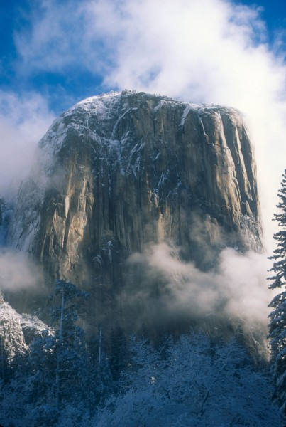 El Capitan after an especially cold winter storm.