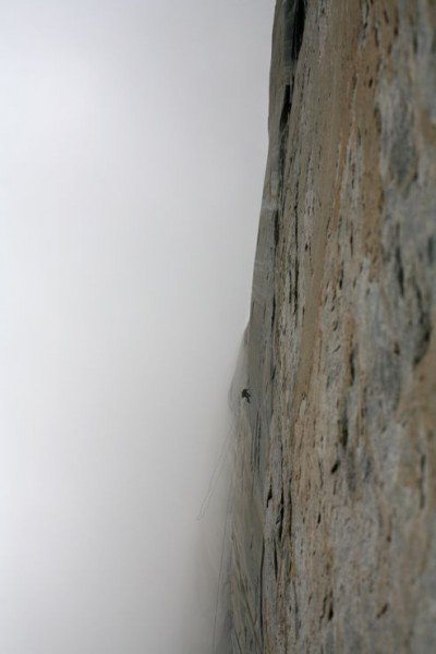 Nate fixing pitch 2 in the fog.