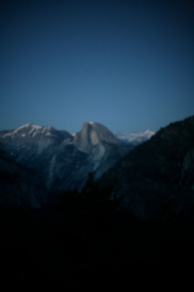 Halfdome blurred at night.