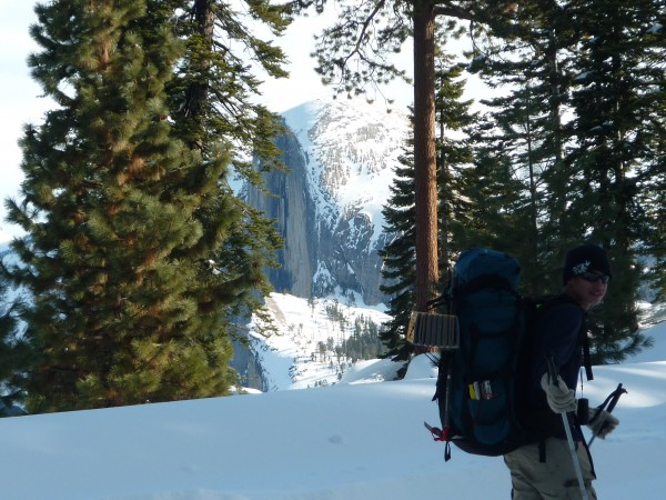 Snow camped, didn't stay at the hut. Half Dome in the background. Scot...