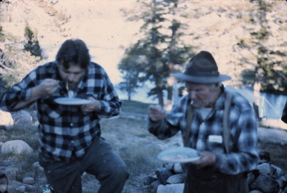 Sheridan Anderson and Norman Clyde eating dinner at the Sierra Club ca...