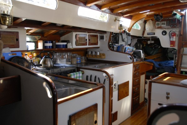 Looking aft-galley and nav station.