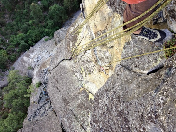 View down from the second belay ( we should have belayed 25' highe...