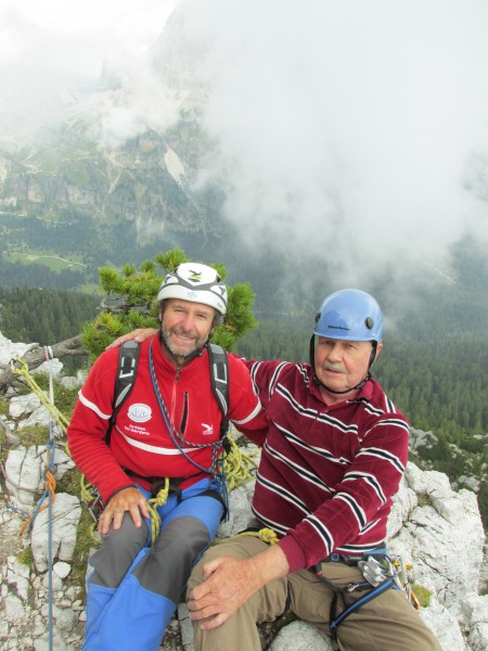 Mauro Bernardi and myself on the summit block of Torre Lusy; 8 Septemb...