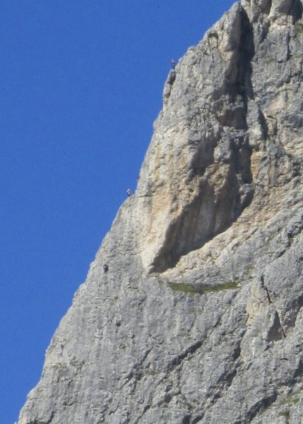 Detail of climbers on Kleiner Falzaregoturm.