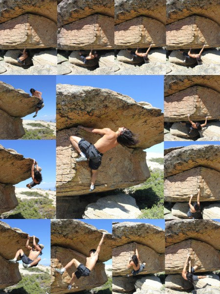 A really fun boulder problem atop High Eagle Dome
