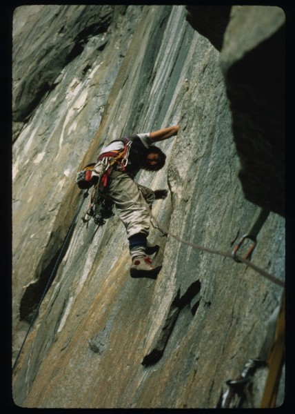 free climbing a section on the FA of Atlantic Ocean Wall