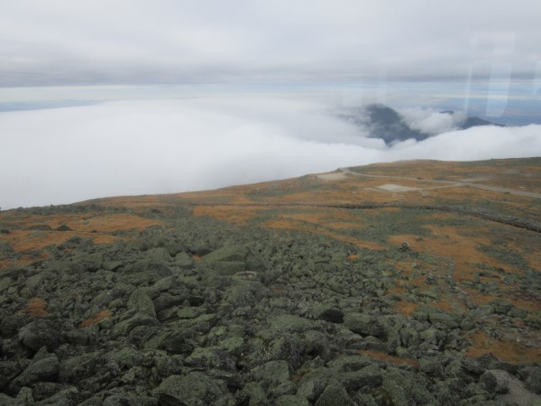 On the summit of Washington. From here to camp, the clouds started to ...