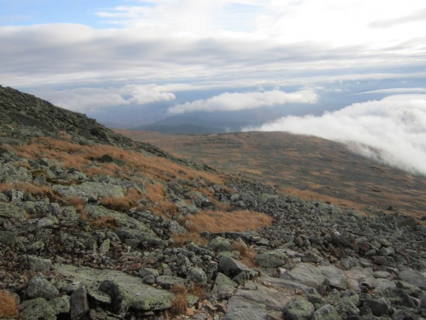 The camp is down in the clouds. It was a long hobble down this stretch