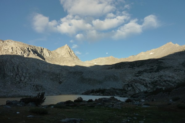 sun rising and moon setting from camp below Bishop Pass. Mt Goode on R