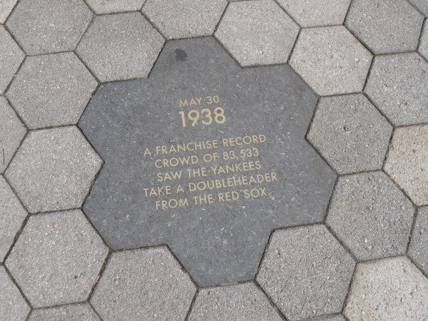 Walkway honors the history of the Old Yankee Stadium - many tiles