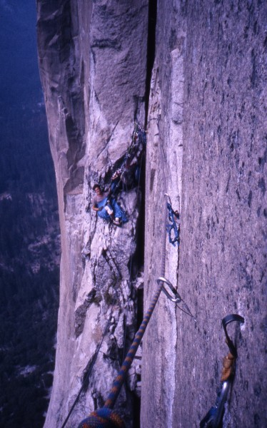 "HOB belay; note ""enhanced"" hook in foreground."