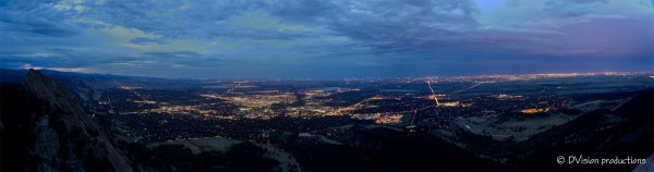 Evening over Boulder from the summit of the 3rd Flatiron, Sept 4, 2013
