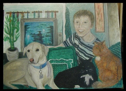 a friend's grandson, here, with three of my 'critter gang' :)