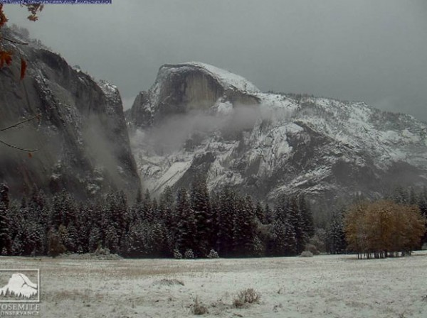 Ahwanee Meadow/Half Dome after this morning's snow