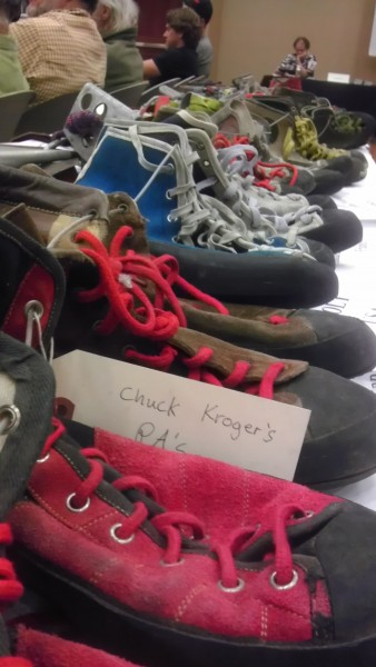 Shoe display from the Oakdale Climbers Festival 2013