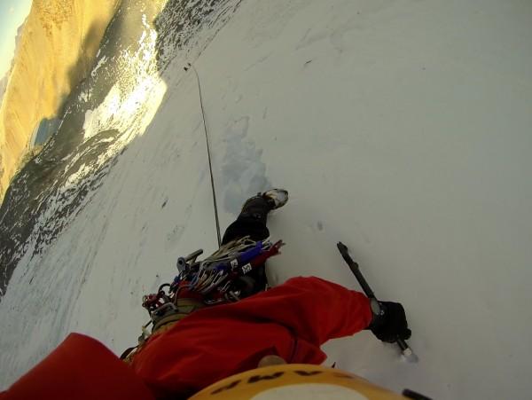 simul-climbing on the glacier below dana couloir.