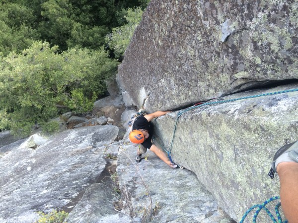 Neal follows the steep section of P2
