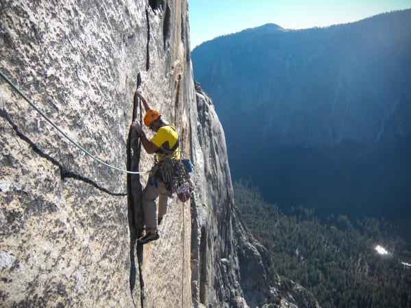 Max Jones free climbing on Iron Hawk.