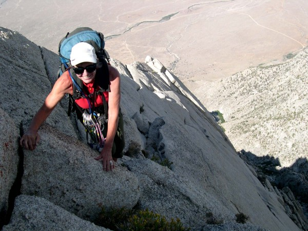 Penelope on the steep section of the NE Ridge. August 2013.