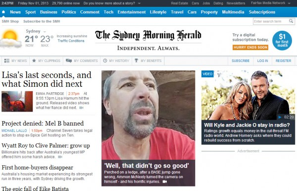 Ammon on the SMH front page