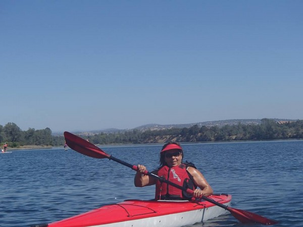 Step mom, paddlin' her ass off!   (American River)
