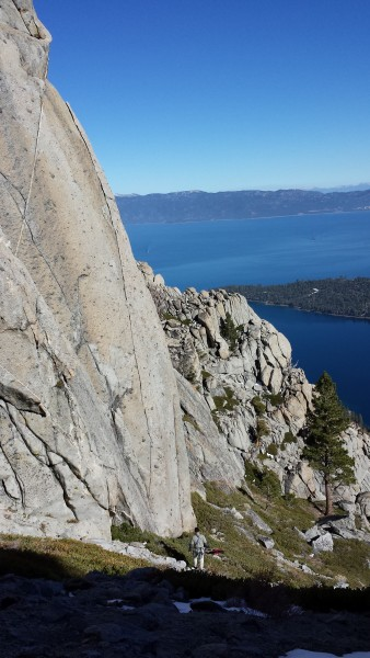 All American Finger Crack, high above Emerald Bay.