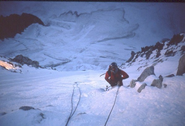 Summit ice field on the N Face of Les Courtes, Cham.