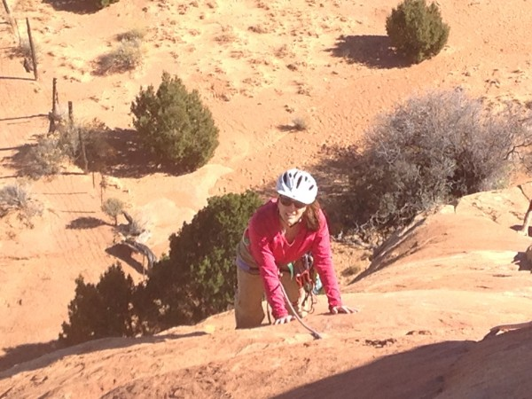 Dawn and her all purpose climbing and biking helmet