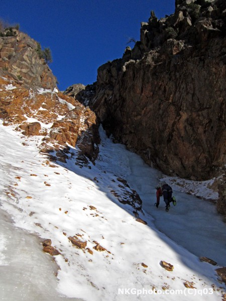 Isa on Shoestring gully. about 1500ft of continous ice in it's current...
