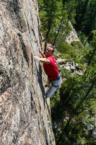 Josh Horniak on Scout's Honor .11a Boy Scout Wall, Bowman Lake, CA.