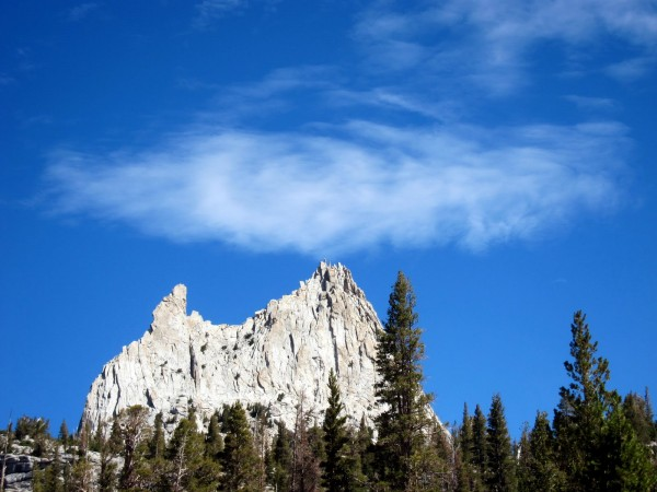 Cathedral Peak attracted the one cloud in the sky.