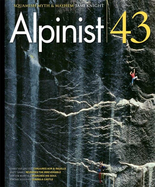 Summer 2013 Alpinist cover depicting Rich Wheater's 1998 photograph of...