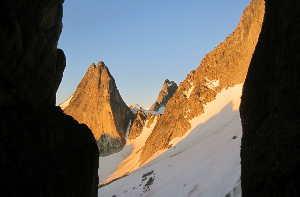 2013-08-03 - Alpenglow on Snowpatch, Pigeon, and Bugbaboo Spire seen f...
