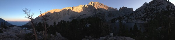 evening pano of University Peak taken from camp