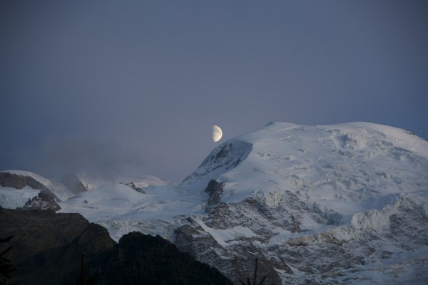 Moon setting over Mt. Blanc
